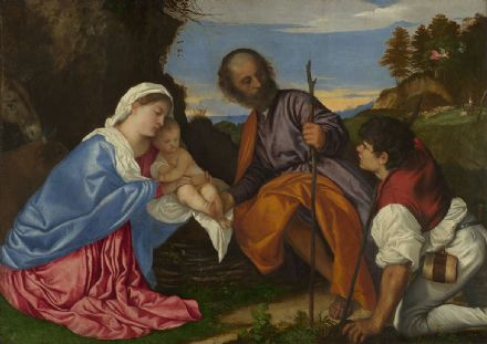 Titian (Tiziano Vecellio): The Holy Family with a Shepherd. Fine Art Print.  (001949)